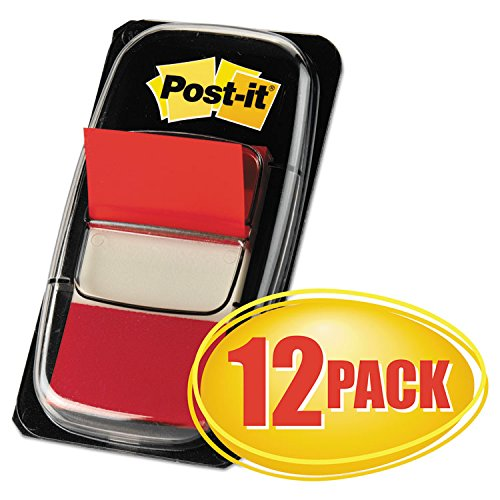Post-it 680RD12 Marking Page Flags in Dispensers, Red, 50 Flags/Dispenser, 12 Dispensers/Pack 3M