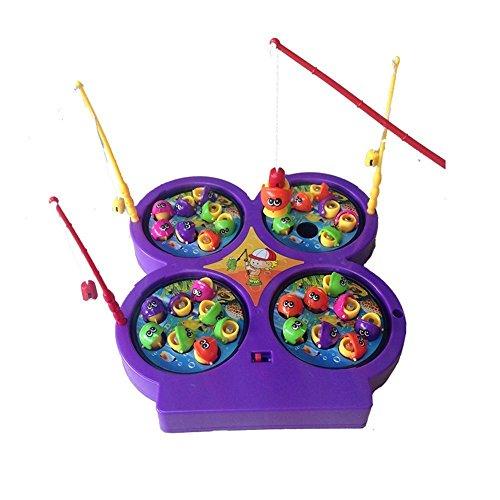 Musikalisches Elektrisch Mini Angelspiel Familienspiel Fischfang Spiel Fische Fangen mit Musik 4 Angeln und 32 Fischen für Kinder ab 4 Jahren