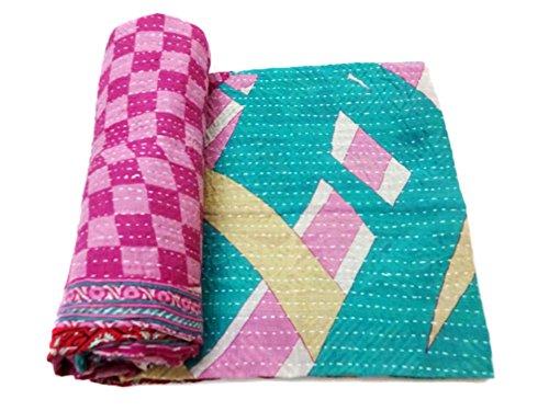 Vintage patchwork Kantha Quilt Decorative Cotton Bedspread Authentic Bedding