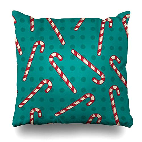 InterestDecor Throw Pillow Covers Pillowcase Graphic Blue Christmas Candy Canes Holidays Green Cane Circles Doodle Dots Drawing Drawn Art Zippered Square Size 20 x 20 Inches Cushion Case - Green Dot Christmas Candy Cane