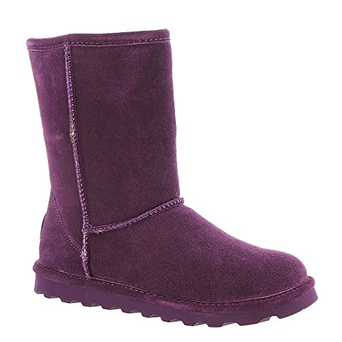 Flat Mid Calf Boots - BEARPAW Women's Elle Short Winter Boot Plum Size 8