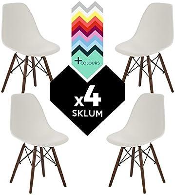 SKLUM Pack 4 Sillas Estilo Nórdico IMS Blanco Madera Oscura ...