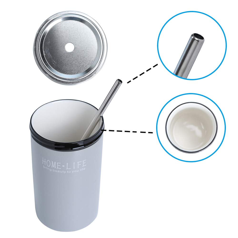 Ceramic Coffee Tea Tumbler Travel Cup Mug Water Bottle with Staw Lid Insulate 14 oz Home Office(Grey)