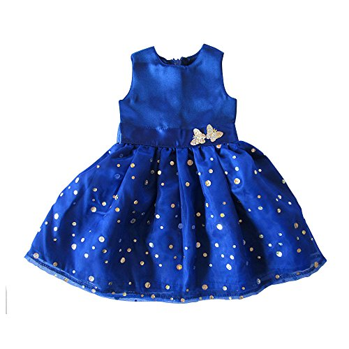 Dress American Girl 18' Doll (Queen Sequins Doll Dress Blue Party Clothes For American Girl Dolls, 18'' Dress With Waist Butterfly)