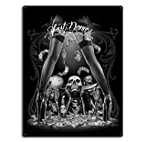 DGA Day of the Dead Rockabilly Skull Last Dance Sign Tin Metal 12x16 Inches