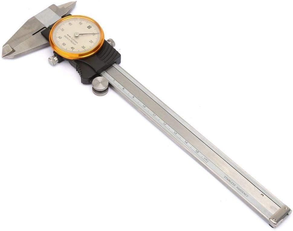 Zerone Calibrador Vernier a prueba de golpes de doble direcci/ón con indicador 0~150 mm 0.01 mm