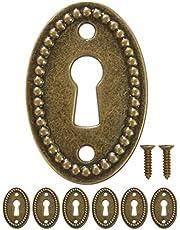 FUXXER® - 6x antieke ovale sleutelborden, slot-rozetten, slot-beslag, afdekking voor sloten, sleutelgat, vintage messing design, set van 6 inclusief schroeven, 37 mm x 24 mm