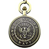 Engraved United States Navy Mark Pocket Quartz Men's Watch Waist Chain with Gift Box