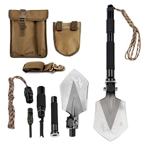 FiveJoy Compact Military Folding Shovel – Portable Multitool, Tactical Entrenching Tool for Camping, Backpacking, Outdoor Hiking, Car, Garden, Snow, Heavy Duty Emergency Survival Gear (Case Included)