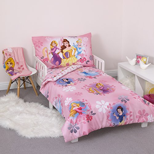 Disney Pretty Princess Toddler Bed, 4 Piece Set, Pink (Princess Snow White Bedding Set)