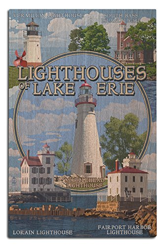Ohio - The Lighthouses of Lake Erie (12x18 Wood Wall Sign, Wall Decor Ready to Hang) (Vermilion Lighthouse Wood)