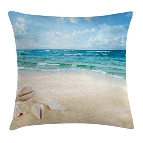 Ocean Decor Throw Pillow Cushion Cover by Ambesonne, Beach Sand Waves Sealife Marine Decor with Shels Hot Summer Sun Print, Decorative Square Accent Pillow Case, 24 X 24 Inches, Teal - Sea Shel
