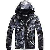 IyMoo Unisex Cycling Jacket Water Resistant Camouflage Running Nightrider Hooded Coat Windbreaker Skin Coat Men Women