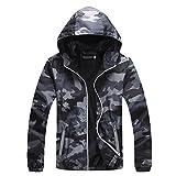 IyMoo Windproof Cycling Bike Bicycle Fleece Winter Thermal Jacket Camouflage Gray Small
