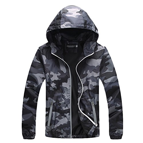 (Windproof Cycling Bike Bicycle Fleece Winter Thermal Jacket Camouflage Gray Small)