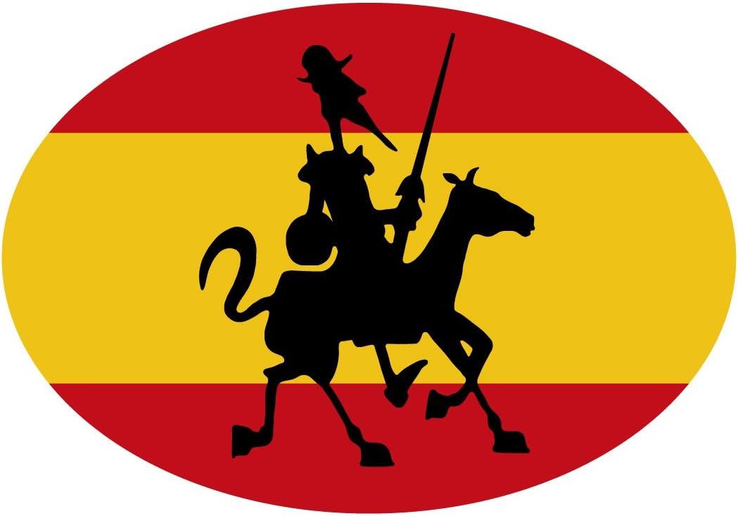 Artimagen Pegatina Bandera Oval España con Quijote 80x60 mm.: Amazon.es: Coche y moto