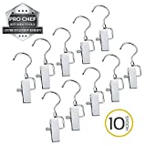Pro Chef Kitchen Tools Stainless Steel Hanging Swivel Clip Hook - Set of 10 Swiveling Spring Clips with Hooks to Display Hang Boots, Caps, Hats, Laundry Hanger Metal Clothespin Clamps Replacement