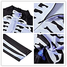 - 51s5FV97PnL - Idgreatim Women Halloween Cosplay Costume 3D Print Long Sleeve Skinny Skeleton Catsuit Jumpsuit Bodysuit