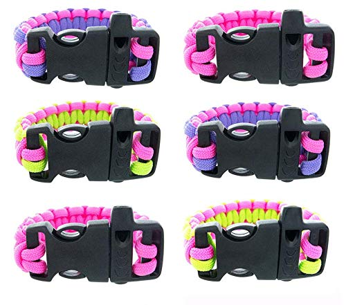FROG SAC Paracord Bracelets with Emergency Whistle Buckles 6 PCs Pack - Survival Buckle Bracelet Set for Men Boys Women Girls - Camping, Hiking Accessories - Great Party Favors (Solid/Two-Tone) (Jewellery Great Frog)