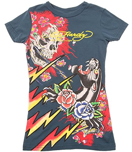 Ed Hardy Kids Girls Panther and Roses Short Sleeve T-Shirt - Blue - -
