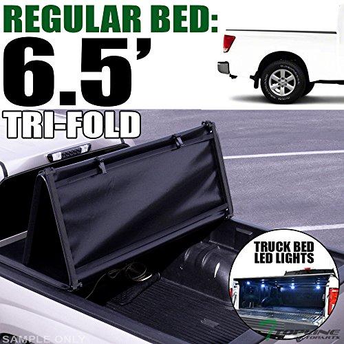- Topline Autopart Tri Fold Soft Vinyl Tonneau Cover & Truck Bed LED Lighting System For 04-15 Nissan Titan King (Extended) Cab 6.5 Feet (78