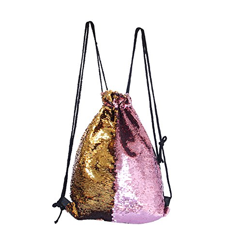 Dance Drawstring - MHJY Mermaid Sequin Bag Drawstring Backpack Glitter Fashion Reversible Sequin Backpack Flip Sequin Bling Dance Bags