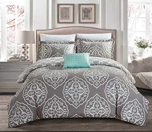 Chic Home 6 Piece Murano Reversible two-tone medallion pattern print Twin Duvet Cover Set Grey
