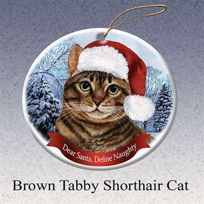 Holiday Pet Brown Tabby Shorthair Cat Santa Porcelain Christmas Tree (Brown Tabby Cat)