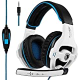 [Latest Version Xbox one Gaming Headset] SADES SA810 Over Ear Stereo Gaming Headset with Mic Bass Volume Control for Xbox One PS4 PC PC Laptop [White & Black]