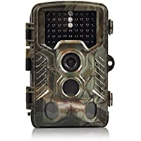 16MP 1080P Game & Trail Camera 46 Pcs Low Glow Black Infrared LEDs 2.4 Inch TFT LCD Display HD Hunting Camera 125° Wide Angle PIR Sensor & Detection Range 82ft Night Vision Waterproof IP56 by H&O