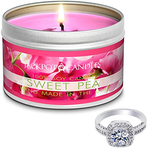 Jackpot Candles Surprise Size Ring Sweet Pea Jewelry Candle Travel Tin