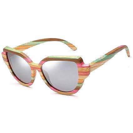 Gafas sol Ojo de Gato de Madera polarizado Estilo Europeo y Americano Moda Color bambú y