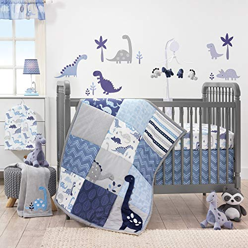 Bedtime Originals Roar 3-Piece Crib Bedding Set - Blue, Gray, White, Animals