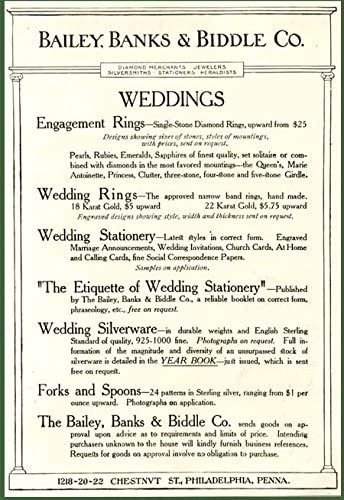 Amazon Com Wonderful 1906 Advertisement For Bailey Banks Biddle Jewelry Wedding Gifts Original Paper Ephemera Authentic Vintage Print Magazine Ad Article Posters Prints