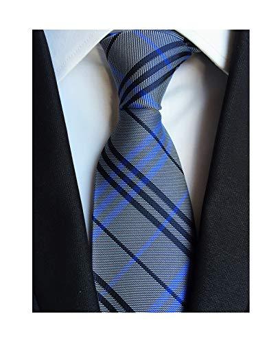 (Men's Blue Grey Ties Trendy Tartan Plaid Narrow-width Wedding Necktie for Grooms)