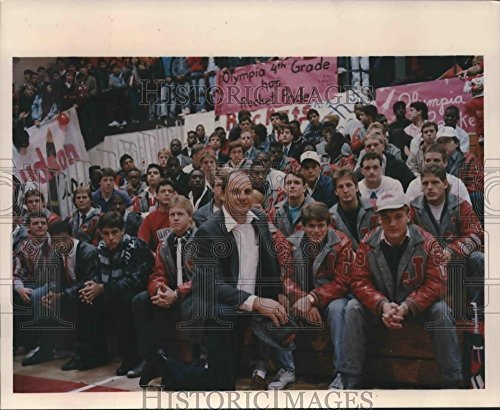Historic Images 1988 Press Photo The Judson High School football team at a school pep rally - 8.25 x 10 in]()