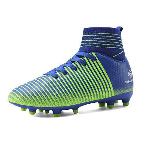 DREAM PAIRS Boys Girls HZ19004K Royal Blue Neon Green Soccer Football Cleats Shoes Size 6 M US Big Kid