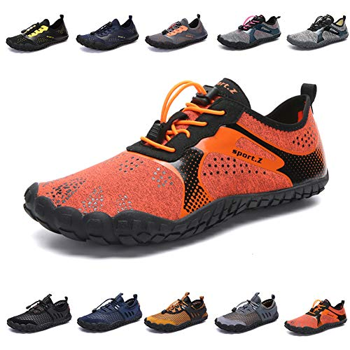 zhenghewyh Mens Womens Water Shoes Barefoot Quick-Dry Aqua Shoes for Beach Swim Pool Surf Diving Aqua Sports Walking Orange