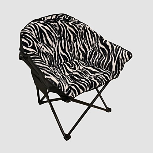 (YLYAB Moon Chair Leisure Camping Chair Without Cup Holder Steel Frame Folding Padded Portable (Color : Zebra Pattern))