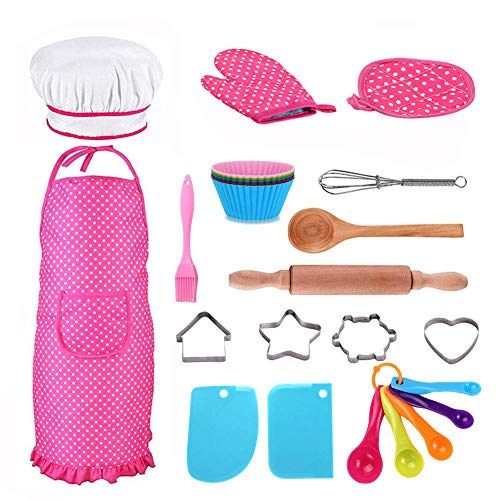 - Kids Cooking and Baking Set - 25Pcs Kids Chef Role Play Includes Apron, Oven Glove, Chef Hat, Eggbeater, Cookie Cutters, Silicone Cupcake Moulds and More for Ages 3+ Little Girl's Gift - Pink
