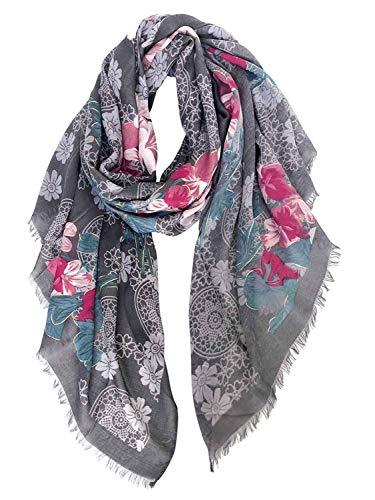 Floral Pattern Scarf - GERINLY Scarf Wrap Fashion Cozy Scarves Womens Floral Evening Shawls (Gray)