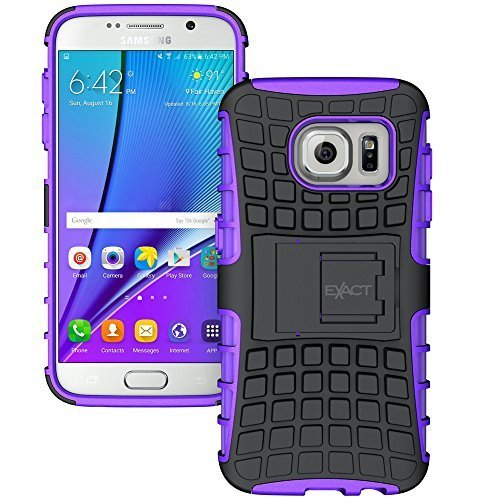 Galaxy S7 Case - Exact [TANK Series] - Shock Proof Tough Rugged Dual-Layer Case with Built-in Kickstand for Samsung Galaxy S7 (2016) Black/Purple