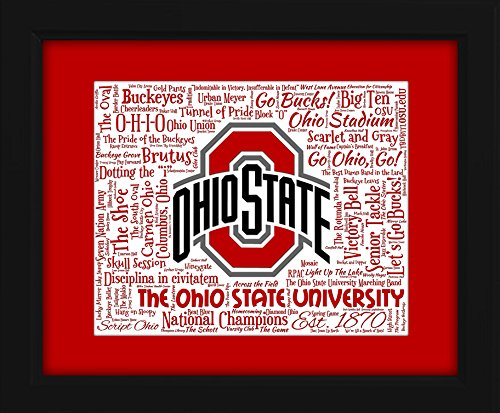 Ohio State University 16x20 Art Piece - Beautifully matted and framed behind glass