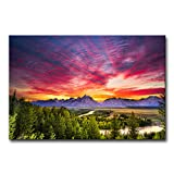 Modern Canvas Painting Wall Art The Picture For Home Decoration Summer Colorful Sunset Snake River Grand Teton National Park Wy Landscape Mountain Print On Canvas Giclee Artwork For Wall Decor