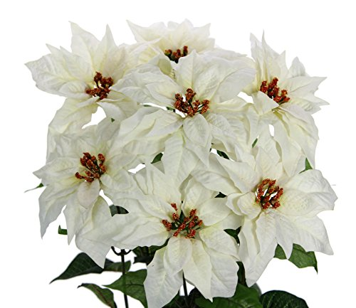 Bush Cream (Admired By Nature GPB7820-Cream Faux Velvet Poinsettia Christmas Flower Mixed Bush, Cream)