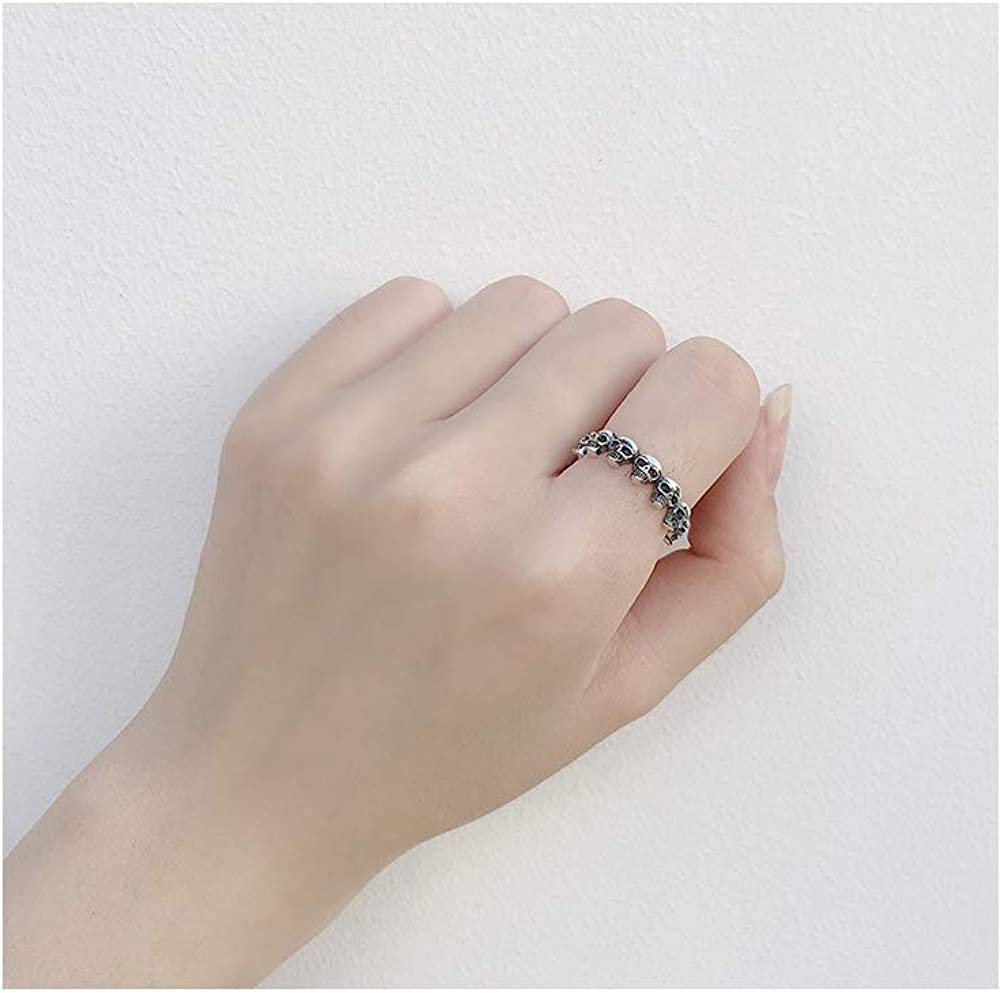 Gothic Skull Eternity Open S925 Sterling Silver Engagement Unique Vintage Stacking Ring Dainty Adjustable Statement Finger Band Knuckle Rings Halloween Jewelry Gifts for Women Teen Girls Boys Her