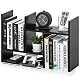 FITUEYES Desktop Organizer Office Storage Rack Adjustable Wood Display Shelf - Free Style Double H Display - True Natural Stand Shelf Rack Counter Top Bookcase DT207201WB
