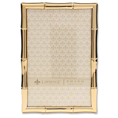 Lawrence Frames 4x6 Gold Metal Picture Frame with Bamboo - Frames Bamboo