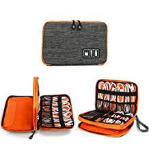 """[Sponsored] Electronics Organizer, Jelly Comb Electronic Accessories Double Layer Cable Organizer Bag Waterproof Travel Cable Storage Bag for Charging Cable, Cellphone, iPad (Up to 7.9"""")and More-(Grey and Orange)"""