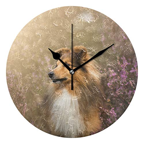 hengpai Dogs Sheltie in Flowers Personalized Round Wall Clock 9.5 Inch Home Decoration for Bedrooms Living - Watch Sheltie